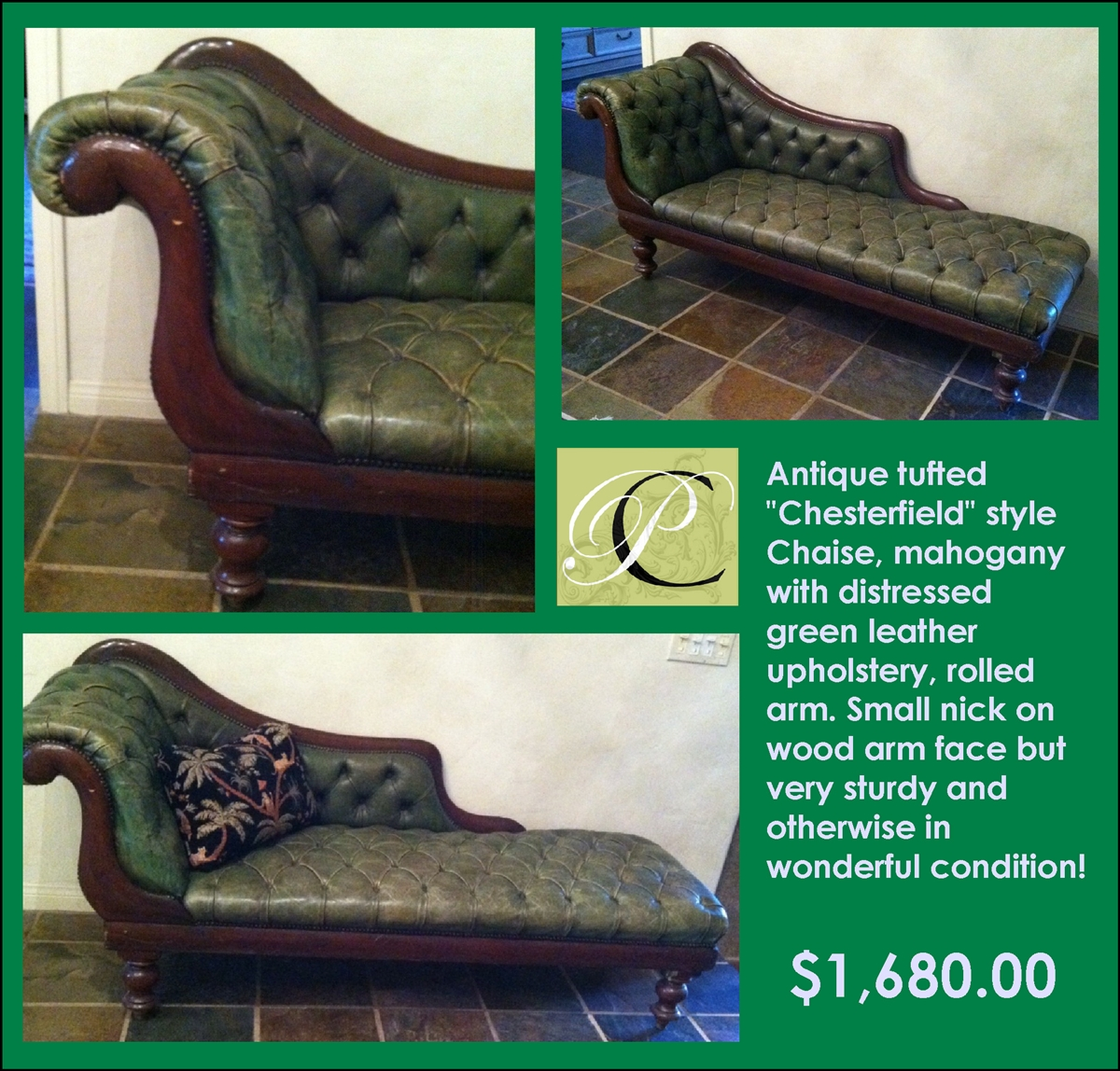 Cool Antique Chaise Mahogany Chesterfield Green Leather Gmtry Best Dining Table And Chair Ideas Images Gmtryco